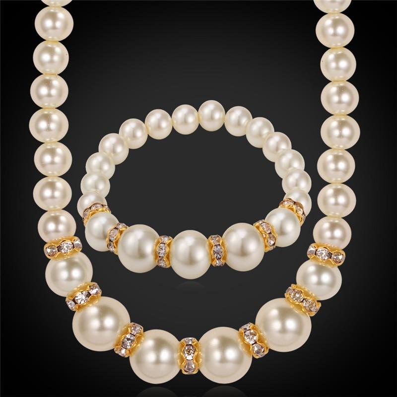 Collare Simulado Collar de Perlas Conjunto de Joyería de Moda Collar de Cristal