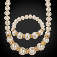Collare Simulated Pearl Necklace Set Jewelry Fashion Gold Color Crystal Necklace Bracelet Wedding Jewelry Sets S775