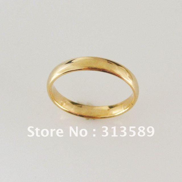 Foromance Yellow Gold Overlay Gp Plain 3mm Wedding Band Engagement Ring Sz Choosable