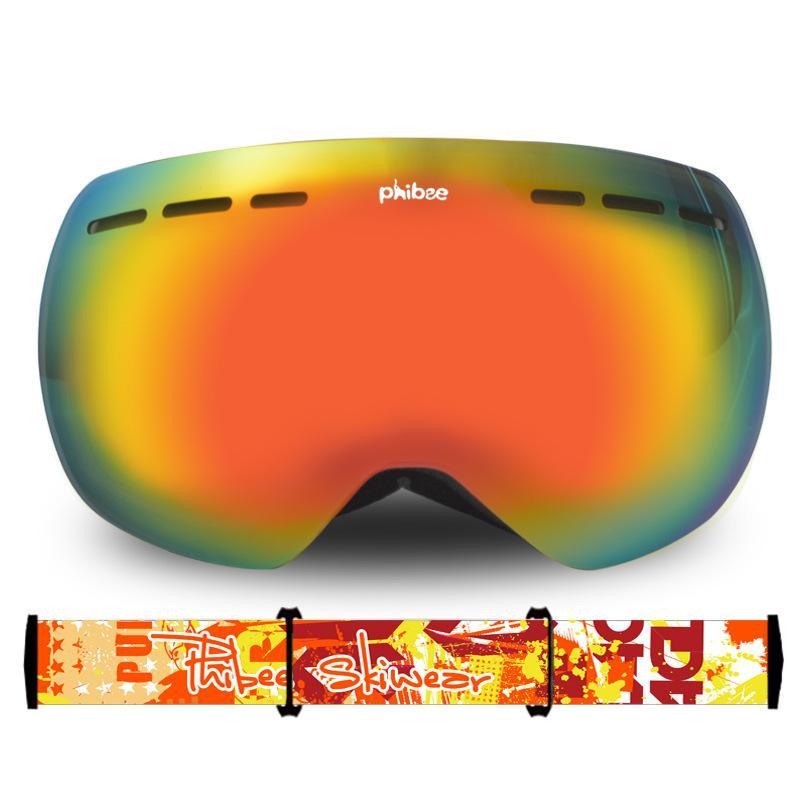 Большие двухслойные лыжные очки унисекс с сферическим покрытием, защита от ветра, защита глаз - 5