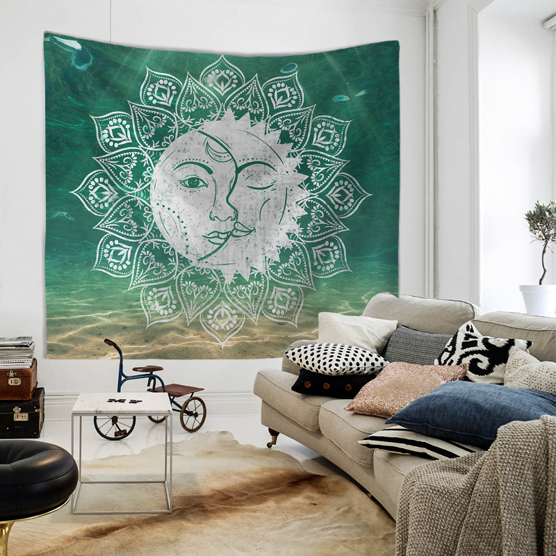 Image 4 - Mandala Hand of Fatima Printing Wall Tapestry Hanging Beach Towel Boho Dorm Decor Home Witchcraft Celestial Sun Moon Blanket-in Tapestry from Home & Garden