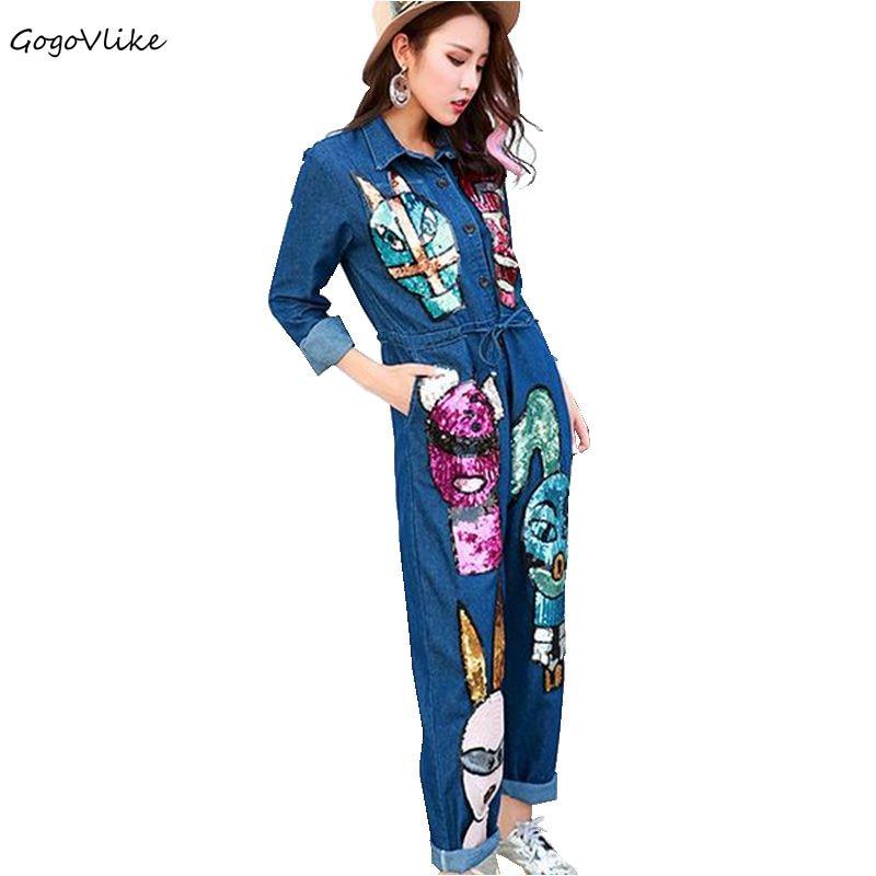 2018 new women Blue loose denim   jumpsuit   feminino cartoon jeans paillettes salopette loose cargo sequined playsuit LT0129S15