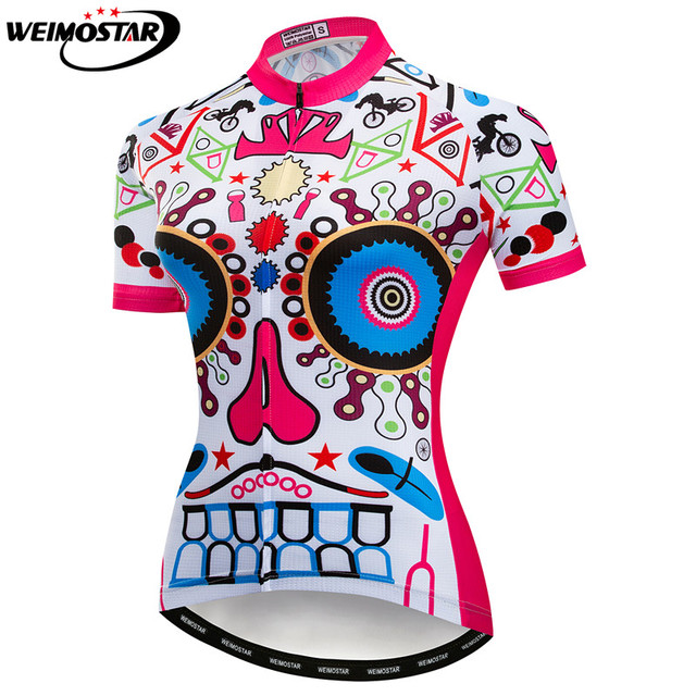 3f1491fd5 Weimostar Cycling Jersey women Bike Jerses 2018 road MTB bicycle Clothing  Skull female Outdoor sportswear maillot Racing top
