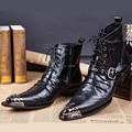 Negro Otoño Invierno Botas Los Hombres Zapatos Botines Punta estrecha Botas Hombre Lace Up Zapatos de Vestido de Boda Para Hombre de Vaquero Militares botas