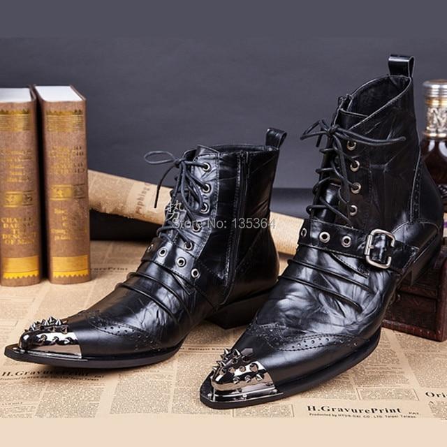 fb5c0d9626 Negro Otoño Invierno Botas Los Hombres Zapatos Botines Punta estrecha Botas  Hombre Lace Up Zapatos de