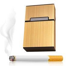 Trendy Smoking Accessories Cigarettes Light Aluminum Cigarette Case Cigar Tobacco Holder Pocket Box Storage Container Gift