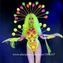 Флуоресцентный Sexy Lady одежда танцевальная команда Производительность Костюмы ночной клуб Броня Бальные S костюм