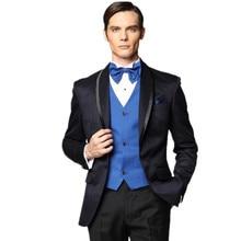 Men's sui Tailored suits black Men Tuxedos Shawl Lapel Wedding Suits For Men Formal 3 Pieces Men formal suit+ Navy Blue vest+tie