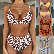 Phaixoneible New Swimwear High Waist Bikini Women Swimsuit Sexy Bathing Suit Leopard Beachwear Lady Halter