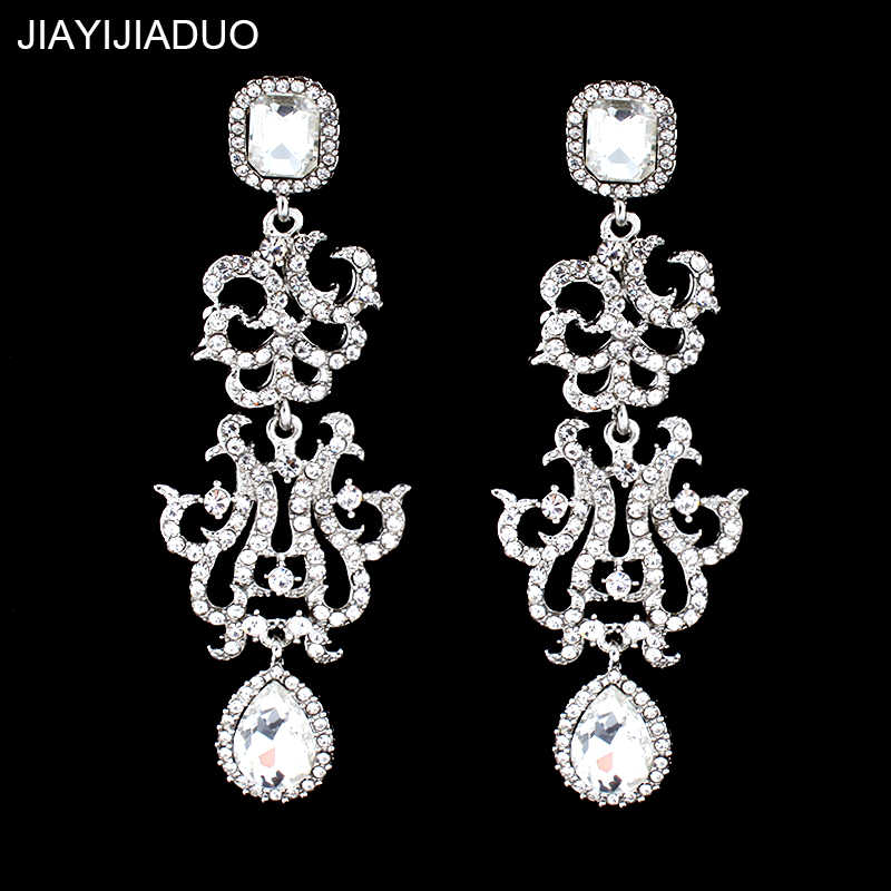Jiayi Jiadu Elegant Chandelier Long Earrings for Women Silver Color Crystal Wedding Earrings for Brides Bridesmaid Dropshipping