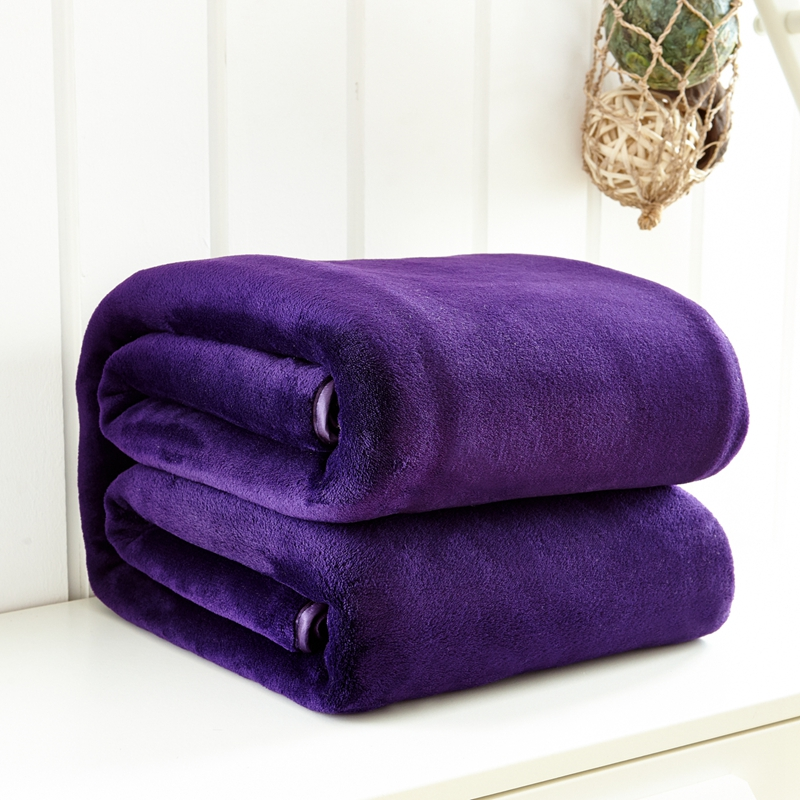 Solid purple blankets Good quality Thick Flannel <font><b>sofa</b></font> throw blanket twin full queen king size deken blankets for beds bedspread