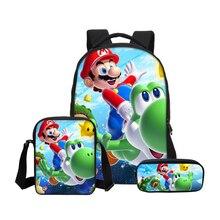 Hynes Eagle Cartoon Super Mario 3D Printing Backpacks For Boys Girls Bookbag 3Pcs/Set School Bag Shoulder Bag Mochila Escolar