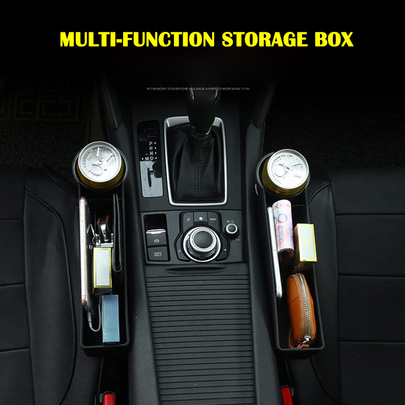 Black Leather Car Pocket Organizer Seat Gap Filler Box w/Cup Holder Seat Catcher Between Seats Organizer CSL88(China)