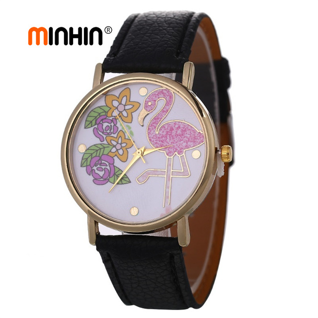 MINHIN Cute Flamingo Pattern Bracelet Watches Hot Selling Birds Flowers Watch For Women Casual Leather Gift Watches Clock