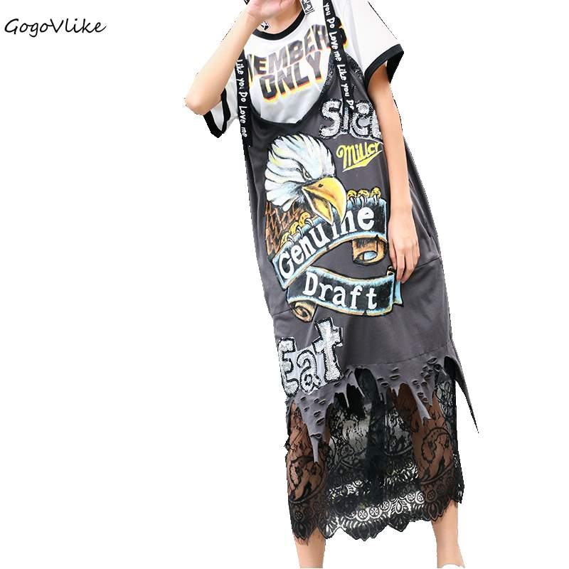 Spaghetti Strap Dress Black Eagle Print Lace Spliced 2018 Summer Women Loose Holes Punk Sequin Clothing Vestidos Black LT122S40