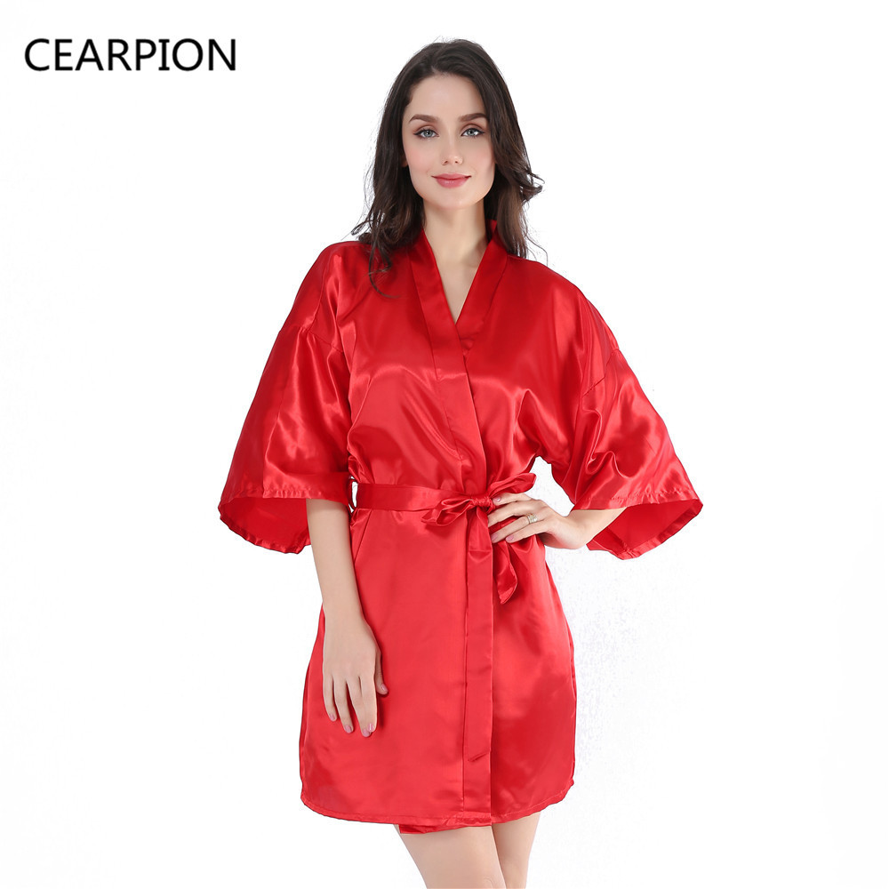 CEARPION Women Robe 3/4 Sleeve Solid Red Kimono Bath Gown Loose V Neck Belt Bathrobe Nightwear Sexy Nightgown Sleepwear Negligee