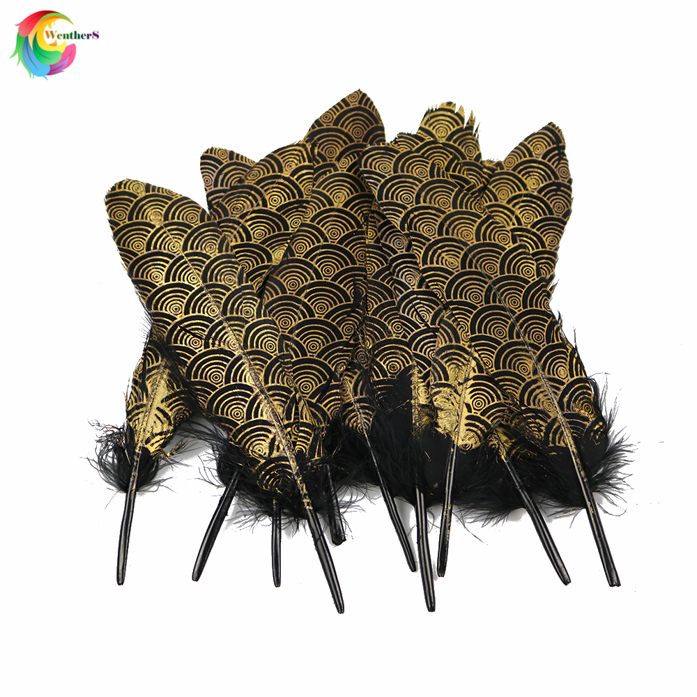 NEW 10 PCS Gold Natural Goose Feather 15-20CM For Crafts Hats Embellishments Plumes DIY Decor Feathers