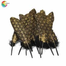 Новые 10 шт золотые натуральные гусиные перья 15-20 см для рукоделия шляпы украшения Шлейфы DIY Декор Перья