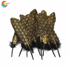 NEW 10 PCS Gold Natural goose feather 15-20CM for Crafts Hats Embellishments plumes DIY Decor Feathers 15 20cm high quality whitel goose feather for diy colorful feather decoration wedding feathers for crafts accessories plumes