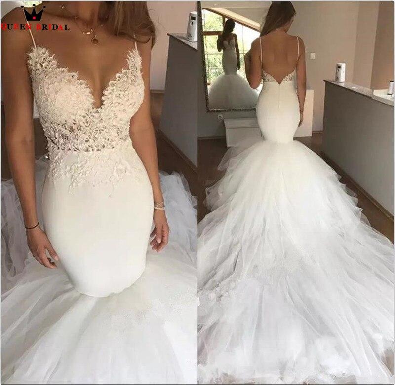 Sexy Wedding Dresses Mermaid Lace Beading Long Train Backless Vintage Wedding Gown Bridal Dress Custom Made YB148M