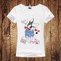2016 Mulheres Moda Design Buldogue Francês camiseta Novidade Tops Lady Bonito Do Cão Impresso T-shirt de Manga Curta