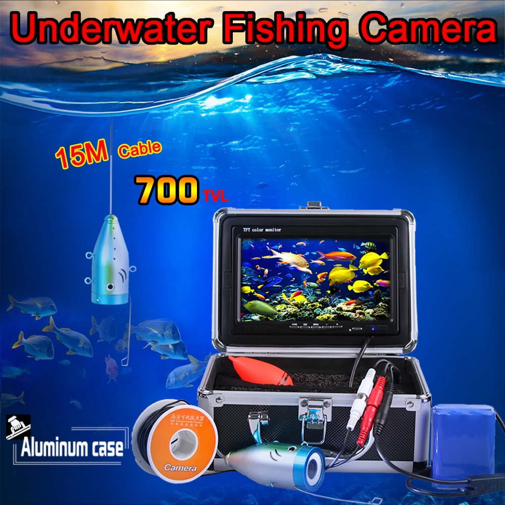 (1 set) HD 700TVL Controllable Underwater Video Camera 7 TFT LCD Fishing Camera Fish Finder With Night Vision 15M Cable 7 tft lcd fishing camera dvr system 24ir leds fish finder 50m hd 700tvl underwater video camera system with night vision