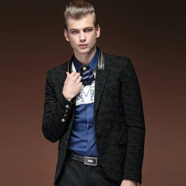 Бесплатная доставка мужская 2016 новый осень весна man костюм черный с длинными рукавами полосатые костюмы пряжки мода метросексуал 15101 в продаже