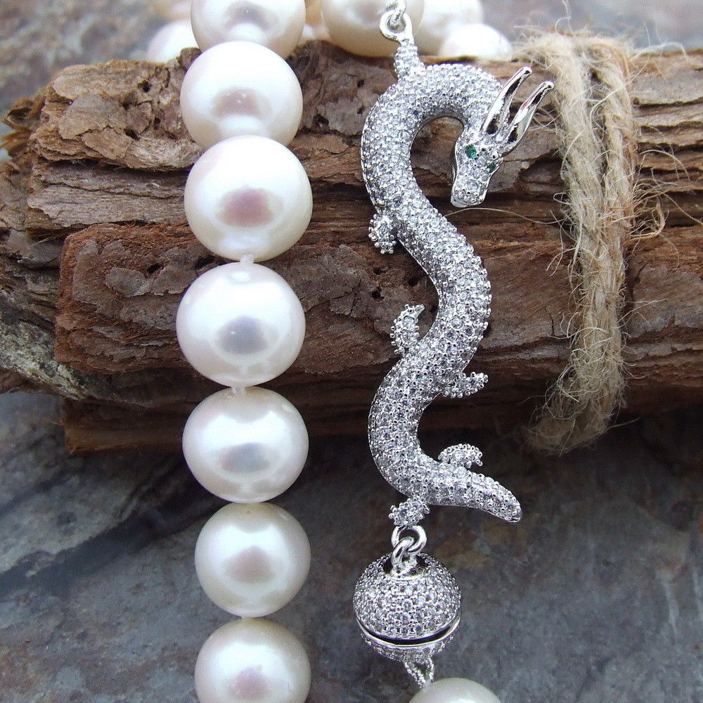 natural 10-11mm White frehwaterPearl Necklace CZ dragon Clasp>Dongguan girl Store free shipping