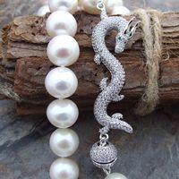 natural 10 11mm White frehwaterPearl Necklace CZ dragon Clasp>Dongguan girl Store free shipping