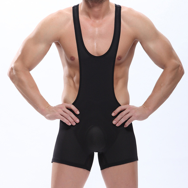 Homens Sexy Malha Bodysuit Tanga Leotards Wrestling Singlet Unitard Desempenho Sutiã Gay sexo gay Underwear preto/branco cores