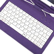 "ETCS-Hot Color Purple Cover faux leather + MICRO USB keyboard Jack + Universal support for Tablet PC 7 ""7 inch apad epad Station"