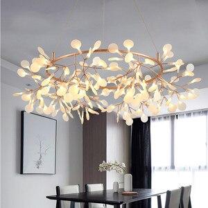 Image 3 - Lampe suspendue circulaire suspendue en forme de feuille darbre luciole, design moderne, éclairage dintérieur, luminaire décoratif, idéal pour un Bar ou un Restaurant, AL127B, lampe à LED
