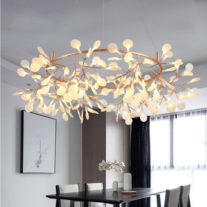Image 3 - Modern LED Lamp Firefly Tree Branch Leaf Pendant Light Round Flower Suspension Lamps Art Bar Restaurant Home Lighting AL127B