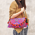 New National Ethnic Embroidery Bags Double-sided Embroidered Shoulder Messenger Bag Wool Ball Bells Clutch Cover Travel Handbag
