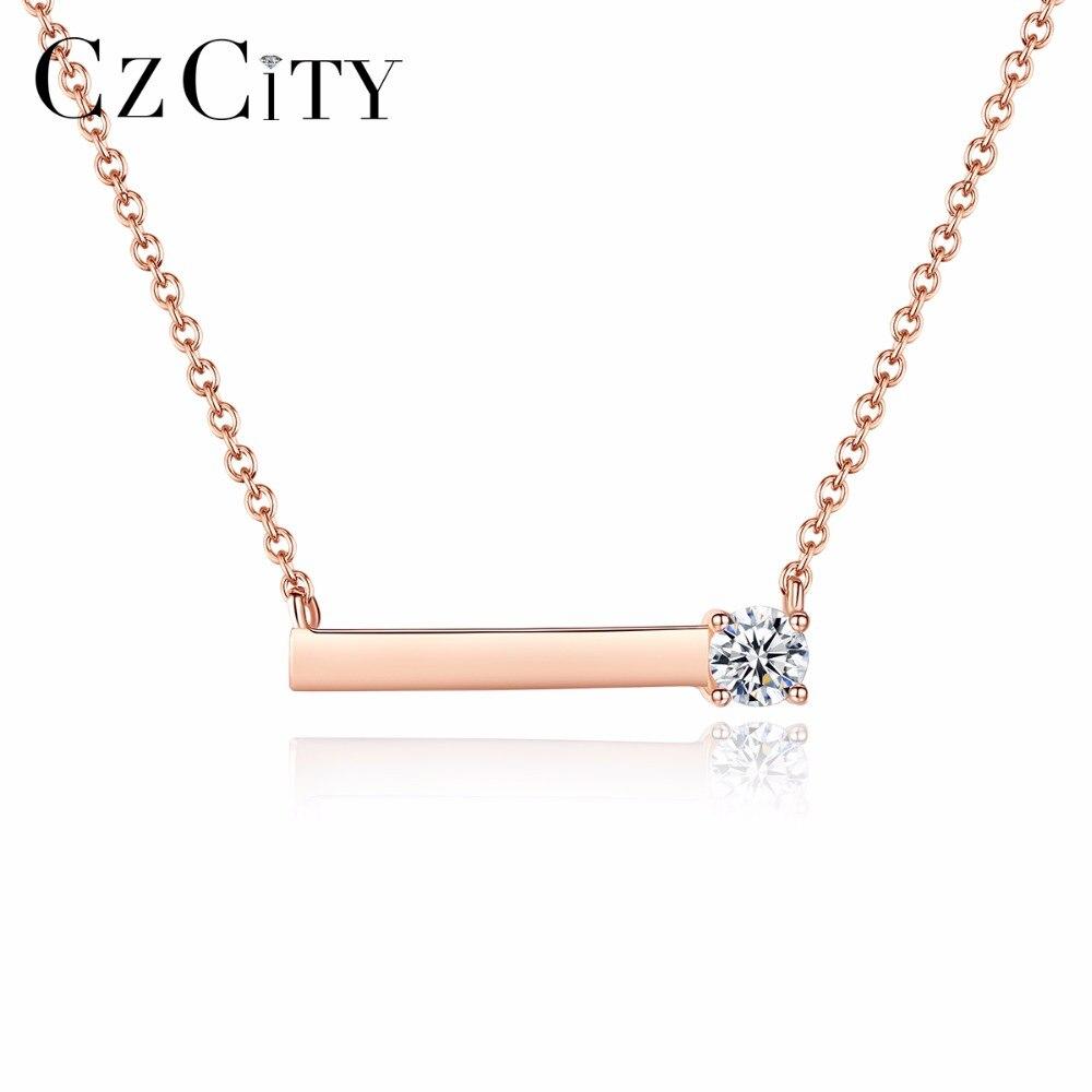 CZCITY Marque Simple CZ avec Petit Zircon Cubique Véritable Sterling Argent Colliers Plaqué Or Rose pour les Femmes Pendentif Bijoux Gif