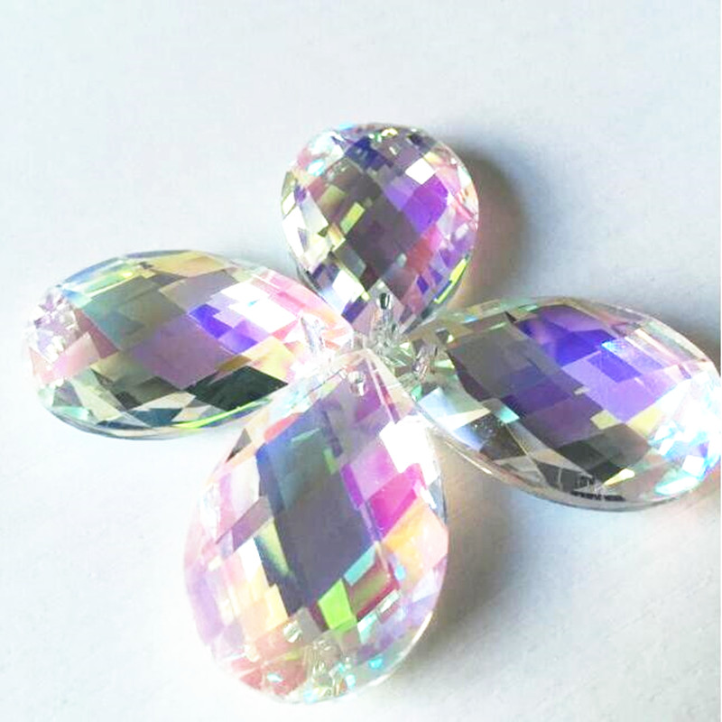 150PCS LOT 38mm AB Glass Crystal Prism Pendant Crystal Suncatcher Hanging Trimming Drops For Strand Garland