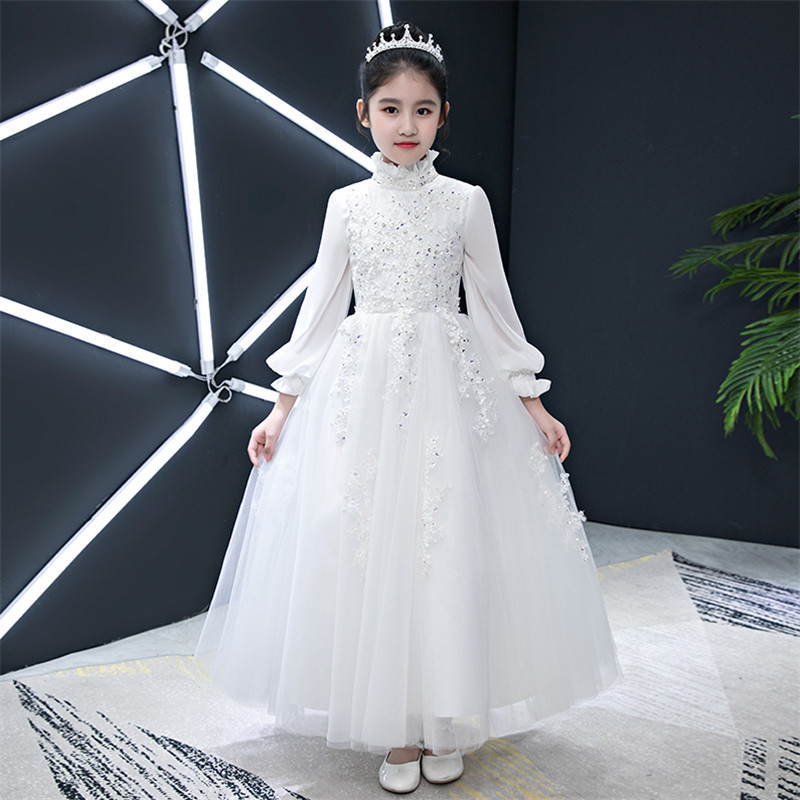 Girls Children Wedding Birthday Princess Party Costume Dress Kids Teens Embroidery Flowers Luxury White Lace Piano Host Dress Girls Children Wedding Birthday Princess Party Costume Dress Kids Teens Embroidery Flowers Luxury White Lace Piano Host Dress