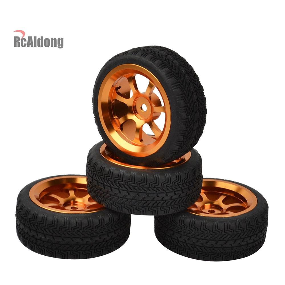 4PCS 1:10 Aluminium alloy Wheels with tires for On Road Racing Car Wltoys A959 A969 A979 A959 RC Car Parts