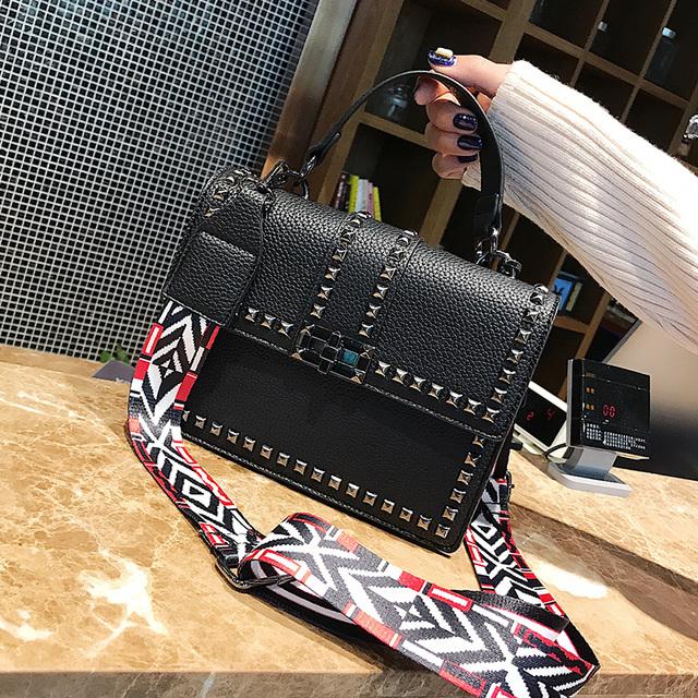 Toposhine Rivets Women Shoulder Bag Black Cover Girls Handbag Square Rivets Madam Ladies Bags Supporting Drop shipping Wholesale