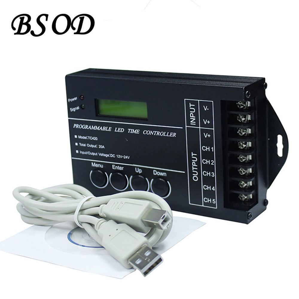 BSOD LED Time Controller TC420 Computer Programmable Switch DC12 24V 20A 5Channels Assemble with USB cable