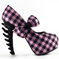 LF80619 Sexy Green/Blue/Pink Check Bow Bone Heel Platform Party Pump