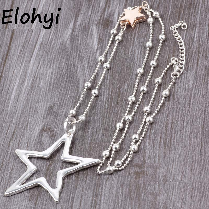 ELOYHI Women Necklace Simple Big Pentagram Statement Necklaces Pendants Vintage Jewelry Bead Chain Long Necklace Women bead simple