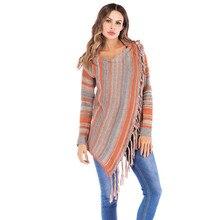 Invierno dama de moda de las mujeres de abrigo suéter orange gris rayas 44872e252a2c