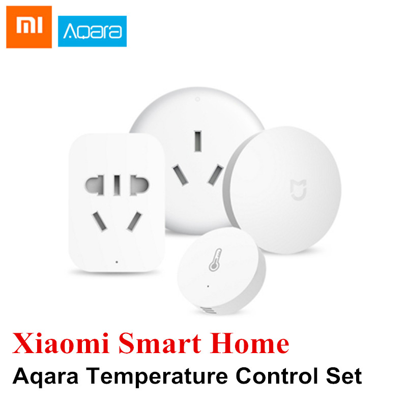 Xiaomi Aqara Smart Home Temperature Control Set Wireless Switch Sensor Air Conditioner Controller Outlet xiaomi aqara mijia smart home temperature control set air conditioner controller temperature humidity sensor wireless switch