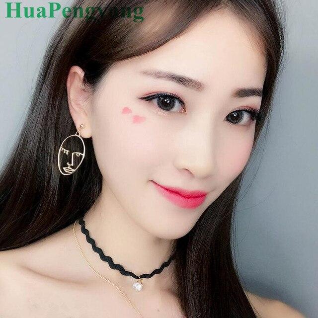 2018 Novelty Earrings Personalized Face Hollow Oval Earrings Female Sale Leader
