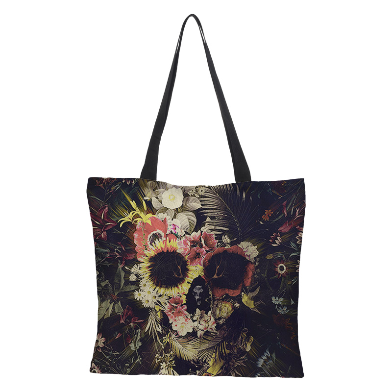 Dark Black Cool Skull Print Linen Tote Bag Eco Reusable Shopping Bags For Women Traveling School Shoulder Bags Folding 43cm*43cm