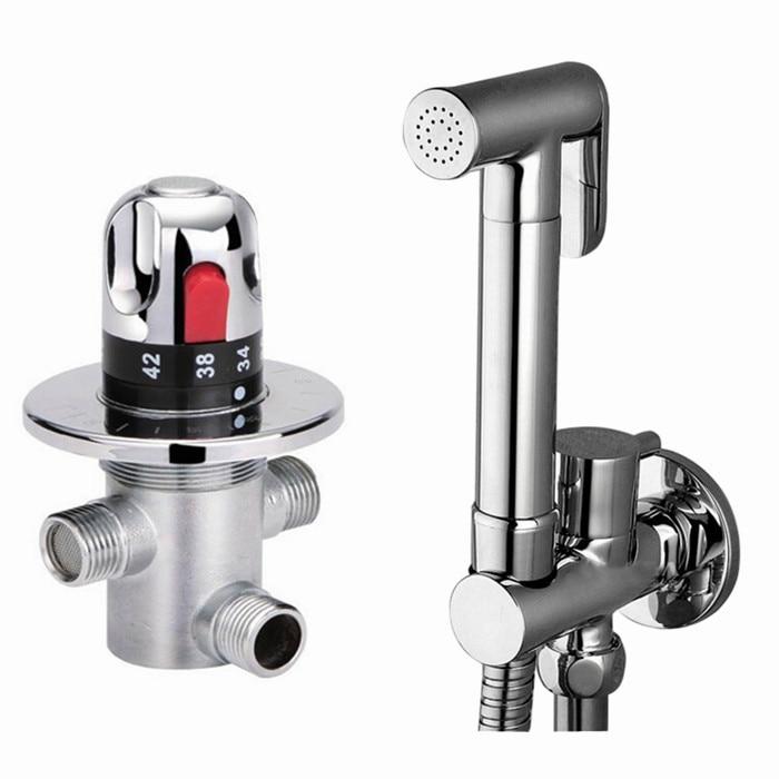 Free shipping  brass bidet thermostatic valve sprayer bidet Shower, toilet bidet faucet & Holder & Hose free shipping bathroom bidet faucet