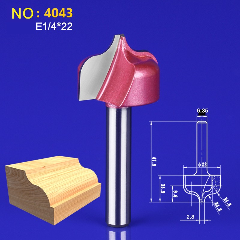 1pcs 6.35*22mm Chest/Door wood flat edge trimmer milling cutter engraving machine tool slotting Lace cutter NO:4043 75mm chrome plated door house flat number no 2
