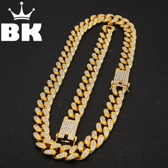 2cm HipHop Gold Color Iced Out Crystal Miami Cuban Chain Gold silver color  Necklace & Bracelet Set  HOT SELLING THE HIPHOP KING
