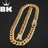 2cm HipHop couleur or glacé cristal Miami chaîne cubaine or argent collier et Bracelet ensemble vente chaude le roi HIPHOP